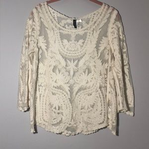 H&M Divided Scalloped Hem Cream Lace Blouse